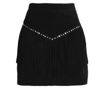 Fringed studded suede mini skirt