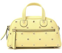 Studded Textured Leather Tote Pastel Yellow Size --