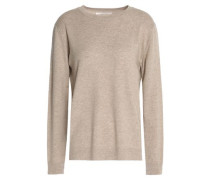 Intarsia-trimmed wool and cashmere-blend sweater