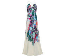 Gathered Printed Silk Crepe De Chine Gown Multicolor