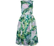 Embellished Pleated Floral-print Silk-crepe Dress Jade