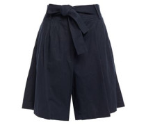 Woman Lilou Belted Pleated Cotton, Linen And Tencel-blend Shorts Midnight Blue