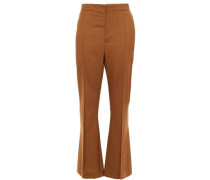 Wool Flared Pants Light Brown