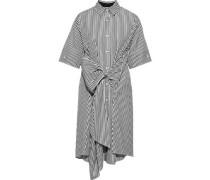 Bow-detailed Striped Cotton-poplin Shirt Dress White
