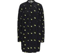 Pleated Printed Crepe Mini Shirt Dress Black