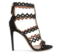 Eyelet-embellished Laser-cut Suede Sandals Black