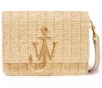 Logo-appliquéd Leather And Faux Raffia Shoulder Bag Beige Size --