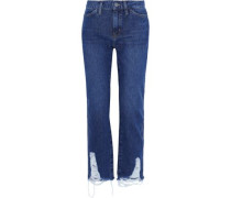 Cult Distressed Mid-rise Straight-leg Jeans Mid Denim  4