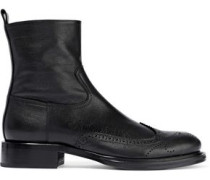 Textured And Smooth-leather Ankle Boots Black