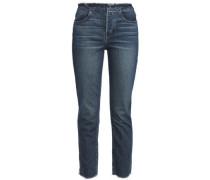 W4 Shelter Frayed High-rise Slim-leg Jeans Dark Denim  4