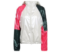 Color-block Glossed-shell Hooded Jacket Multicolor