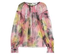 Floral-print chiffon blouse