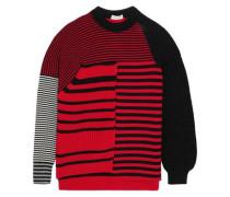 Paneled Striped Wool Sweater Claret