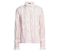 Ruffled Printed Cotton Shirt Ivory