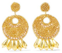Gold-tone, bead and crystal earrings
