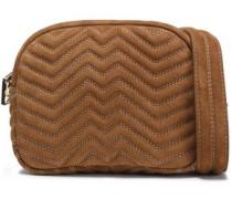 Quilted suede shoulder bag