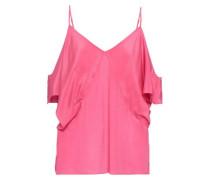 Cold-shoulder Silk Crepe De Chine Top Pink