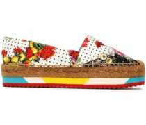 Printed woven espadrilles