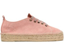 Hamptons Lurex-trimmed Suede Espadrille Sneakers Blush