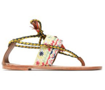Tasseled braided leather and embroidered canvas sandals