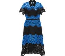 Satin-trimmed two-tone guipure lace midi dress