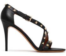 Embellished Leather Sandals Black