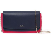Two-tone Leather Shoulder Bag Navy Size --