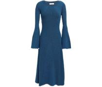Woman Ribbed-knit Midi Dress Blue