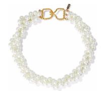 Gold-tone faux pearl choker