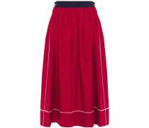 Woman Gathered Cotton-poplin Midi Skirt Claret