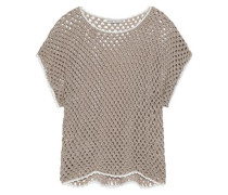 Open-knit linen and cotton-blend top
