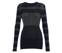 Color-block metallic ribbed-knit top