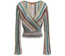 Wrap-effect Metallic Striped Crochet-knit Top Turquoise