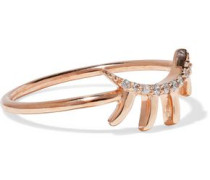Lash rose gold-plated sterling silver crystal ring