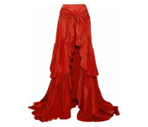 Asymmetric tie-front ruffled satin skirt