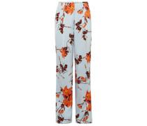 Woman Floral-print Crepe Wide-leg Pants Sky Blue