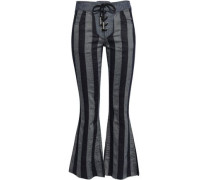 Lace-up Cotton And Linen-blend Jacquard Flared Pants Dark Denim