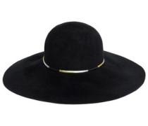 Honey Metallic Faux Leather-trimmed Rabbit-felt Hat Black