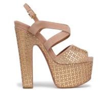 Laser-cut Suede And Metallic Leather Platform Sandals Blush