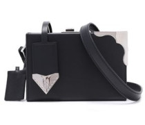 Leather And Silver-tone Box Clutch Black Size --