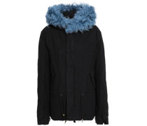 Shearling-trimmed Cotton-blend Gabardine Hooded Coat Light Blue