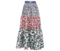 Carmen Gathered Burnout Jacquard Maxi Skirt Multicolor