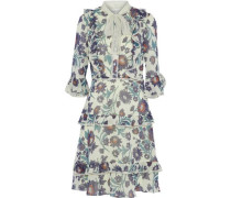Pussy-bow ruffled floral-print chiffon dress