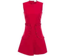 Woman Flared Ruffle-trimmed Button-embellished Stretch Cotton-poplin Mini Dress Claret