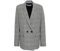 Double-breasted Prince Of Wales Checked Woven Blazer Black