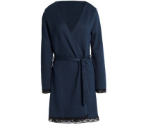 Lace-trimmed stretch-knit robe