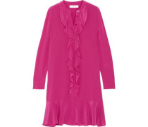 Ruffled silk-crepe de chine dress