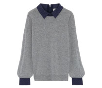 Polka-dot Poplin-trimmed Wool And Cashmere-blend Sweater Gray