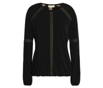 Lace-trimmed stretch-jersey blouse