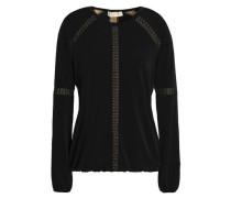 Lace-trimmed Stretch-jersey Blouse Black